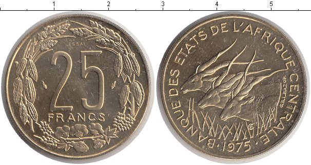 Картинка Монеты КФА 25 франков Медно-никель 1975