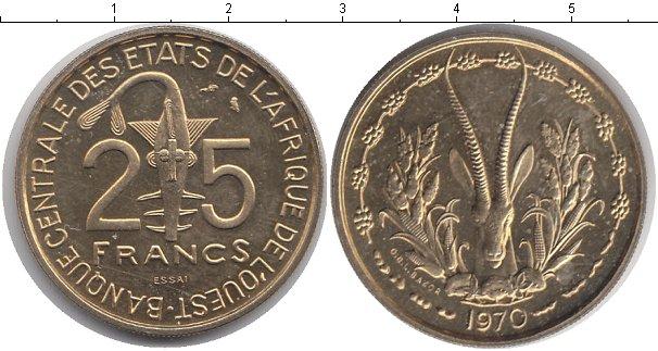 Картинка Монеты КФА 25 франков Медно-никель 1970