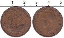 Изображение Мелочь Великобритания 1/2 пенни 1944 Медь XF Георг VI