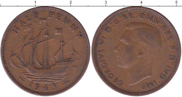 Картинка Мелочь Великобритания 1/2 пенни Медь 1944