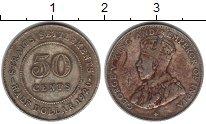 Изображение Монеты Стрейтс-Сеттльмент 50 центов 1920 Серебро  Георг V