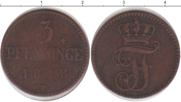 Картинка Монеты Мекленбург-Шверин 3 пфеннига Медь 1848