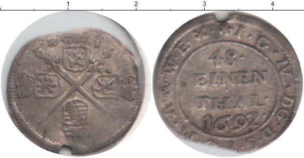 Картинка Монеты Саксония 1/48 талера Серебро 1692