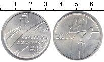 Изображение Монеты Сан-Марино 1000 лир 1990 Серебро UNC 1600 лет истории
