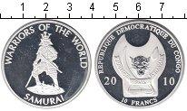 Изображение Мелочь Конго 10 франков 2010 Посеребрение Proof- Самурай