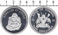 Изображение Монеты Уганда 1000 шиллингов 2003 Посеребрение Proof Горилла