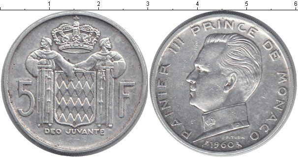 Картинка Монеты Монако 5 франков Серебро 1960