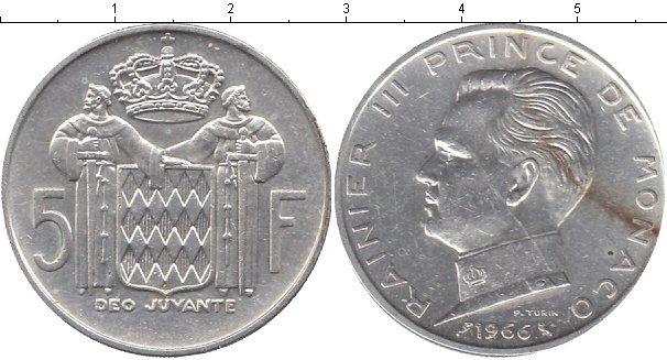 Картинка Монеты Монако 5 франков Серебро 1966