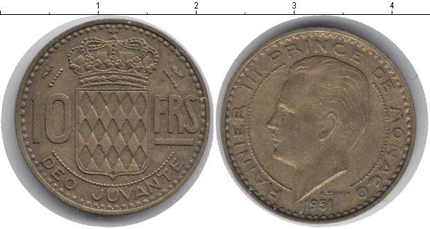 Картинка Мелочь Монако 10 франков  1951
