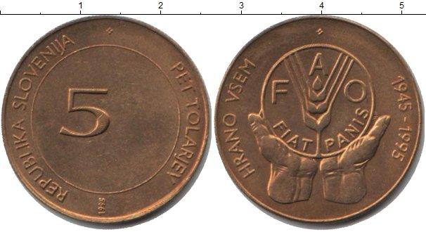 Картинка Мелочь Словения 5 толаров Медно-никель 1995