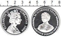 Изображение Монеты Гибралтар 5 фунтов 2006 Серебро Proof 80-летие Елизаветы I