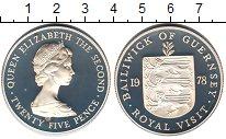 Изображение Монеты Гернси 25 пенсов 1978 Серебро Proof Визит королевы Елиза