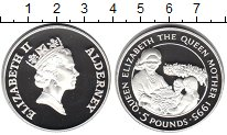 Изображение Монеты Олдерни 5 фунтов 1995 Серебро Proof Королева-мать