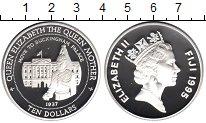 Изображение Монеты Фиджи 10 долларов 1995 Серебро Proof Королева-мать переез