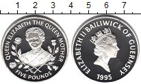 Изображение Монеты Гернси 5 фунтов 1995 Серебро Proof Королева-мать