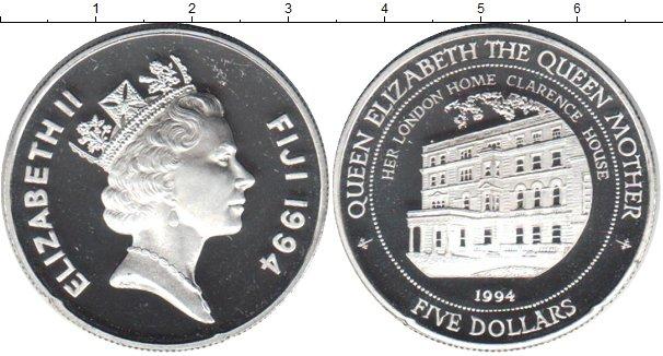 Картинка Монеты Фиджи 5 долларов Серебро 1994