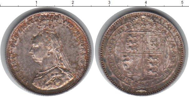 Картинка Монеты Великобритания 1 шиллинг Серебро 1887