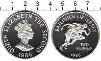 Изображение Монеты Остров Джерси 2 фунта 1986 Серебро Proof Олимпийские игры