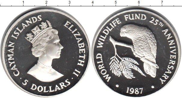 Картинка Монеты Каймановы острова 5 долларов Серебро 1987