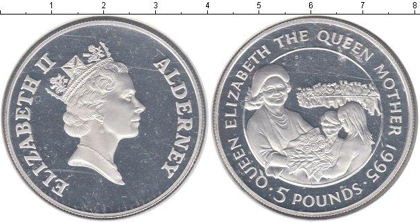 Картинка Монеты Олдерни 5 фунтов Серебро 1995