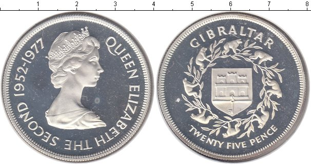 Картинка Монеты Гибралтар 25 пенсов Серебро 1977