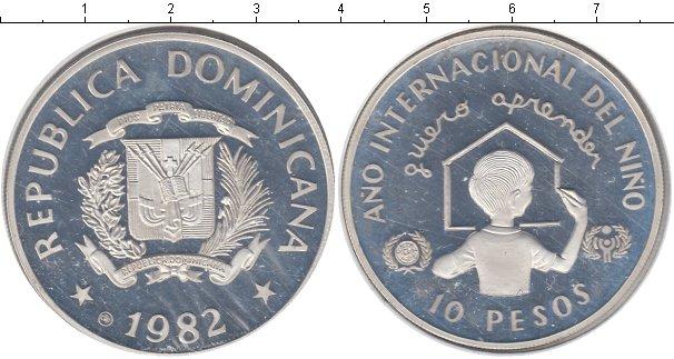 Картинка Монеты Доминиканская республика 10 песо Серебро 1982