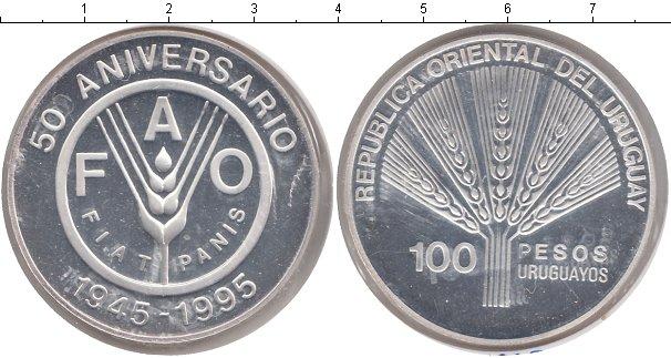 Картинка Монеты Уругвай 100 песо Серебро 1995