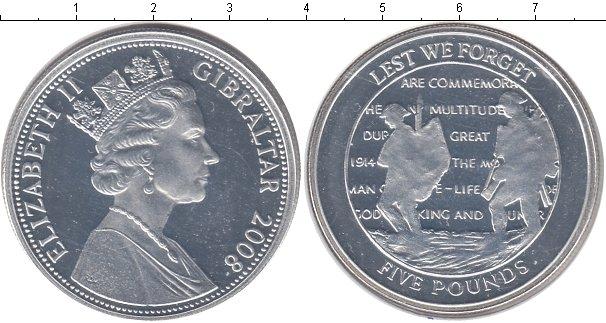 Картинка Монеты Гибралтар 5 фунтов Серебро 2008