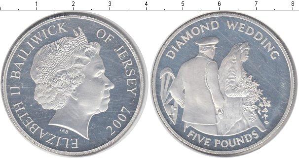 Картинка Монеты Остров Джерси 5 фунтов Серебро 2007