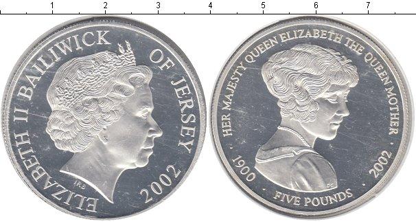 Картинка Монеты Остров Джерси 5 фунтов Серебро 2002