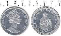 Изображение Монеты Остров Мэн 1 крона 1985 Серебро Proof- Королева-мать