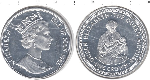 Картинка Монеты Остров Мэн 1 крона Серебро 1985