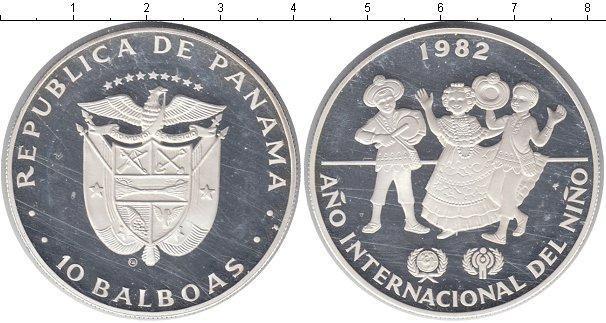 Картинка Монеты Панама 10 бальбоа Серебро 1982