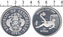 Изображение Монеты Сейшелы 25 рупий 1993 Серебро Proof- Футбол 94
