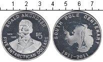 Изображение Мелочь Антарктика 5 долларов 2011 Посеребрение Proof- Роланд Амундсен