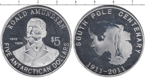 Картинка Мелочь Антарктика 5 долларов Посеребрение 2011