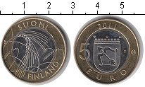 Изображение Мелочь Финляндия 5 евро 2011 Биметалл UNC- Колоски