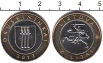 Изображение Мелочь Литва 2 лит 2012 Биметалл XF г Друскининкай