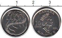 Изображение Мелочь Канада 10 центов 2001 Медно-никель UNC- Елизавета II Год вол