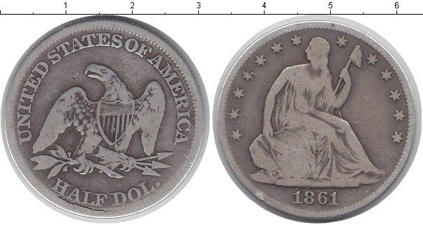 Картинка Монеты США 1/2 доллара Серебро 1861