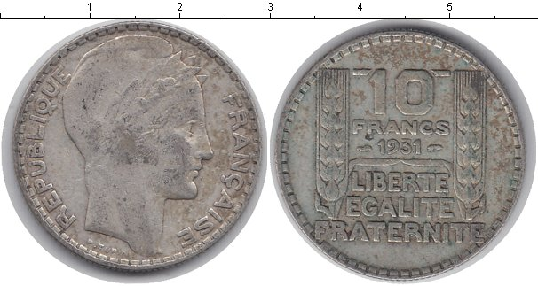 Картинка Монеты Франция 10 франков Серебро 1931