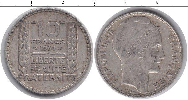 Картинка Монеты Франция 10 франков Серебро 1934