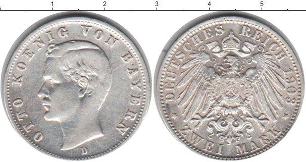 Картинка Монеты Бавария 2 марки Серебро 1903