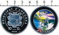 Изображение Монеты Андорра 10 динерс 2008 Серебро Proof Экстрим. Водные лыжи