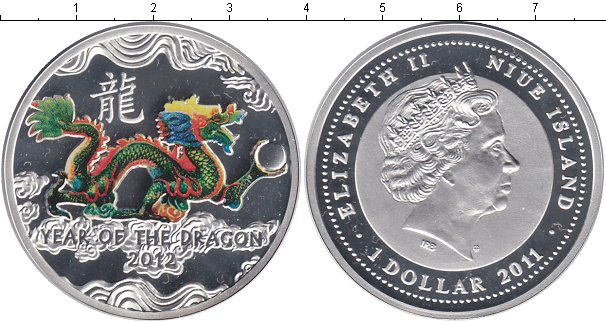 Obverse year of the dragon - golden dragon 5 dolar0f3w 2011
