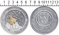Изображение Монеты Руанда 1000 франков 2009 Серебро UNC- Козерог. ОТСУТСТВУЕТ
