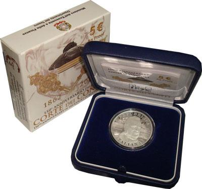 Изображение Подарочные монеты Италия 150-летие годовщины учреждения Счётной палаты Италии 2012 Серебро Proof- Подарочный набор пос