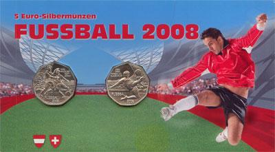Изображение Подарочные монеты Австрия Футбол 2008 Серебро UNC Подарочные монеты но