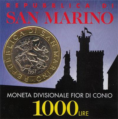 Изображение Подарочные наборы Сан-Марино Тысячелетие построения замка 1997 Биметалл UNC-