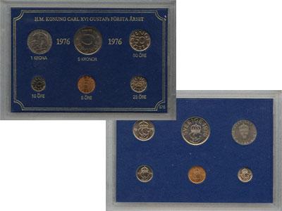 Изображение Подарочные монеты Швеция Набор монет 1976 года 1976  UNC `В наборе 6 монет но